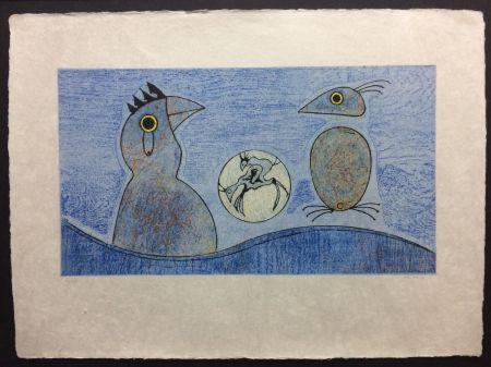 Litografía Ernst - Deux Oiseaux