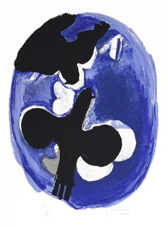 Litografía Braque - Deux oiseaux sur fond bleu (Two birds on a blue background)