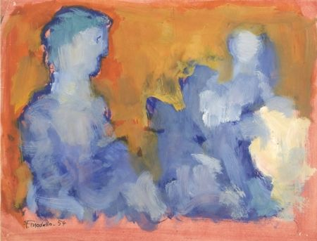 Sin Técnico Mualla - Deux personnages bleus sur fond orange