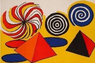 Litografía Calder - Deux pyramides trois arcs de cercle