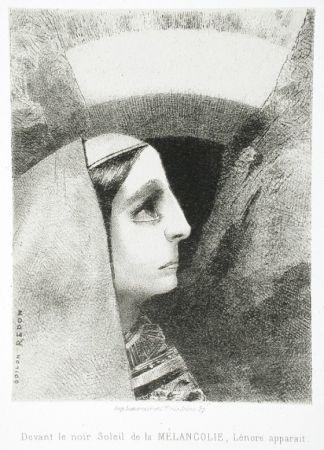 Litografía Redon - Devant le noir soleil de la Mélancolie, Lénore apparaît