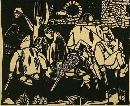 Grabado En Madera Campendonk - Die Bettler (nach Bruegel) / The Beggars (after Bruegel)