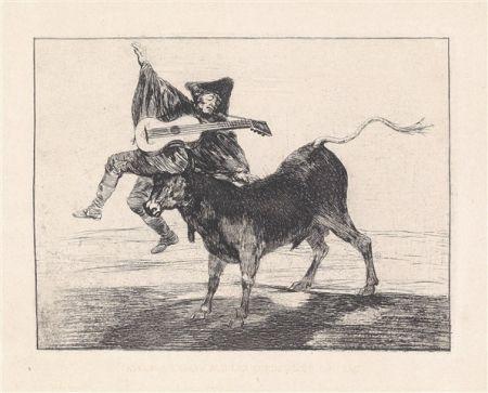Aguafuerte Y Aguatinta Goya - Dios se lo pague a usted (Aveugle enlevé sur les cornes d'un taureau)