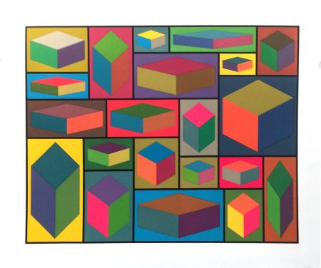 Linograbado Lewitt - Distorted Cubes