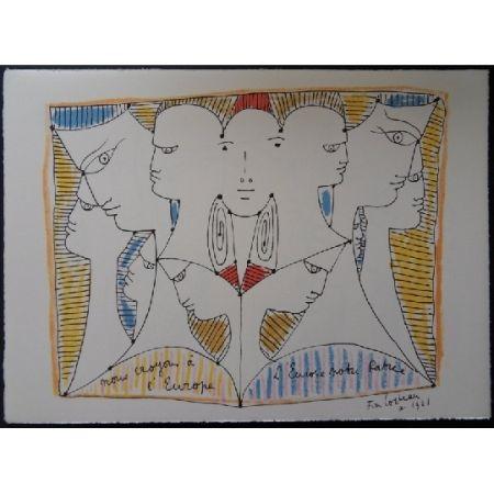 Litografía Cocteau - Diversité de l'Europe