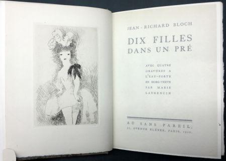 Libro Ilustrado Laurencin - DIX FILLES DANS UN PRÉ avec quatre gravures à l'eau-forte en hors-texte par Marie Laurencin (Ex. avec suite)