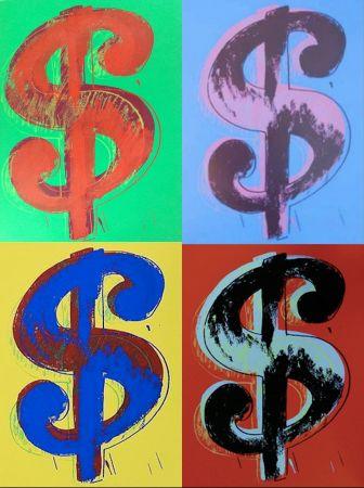 Serigrafía Warhol - Dollar Sign Set Of 4
