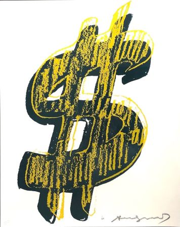 Serigrafía Warhol - Dollar Sign, Yellow  (FS II.278)