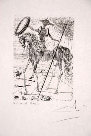 Aguafuerte Dali - Don Quichotte - Don Quixote (suite Cinq Portraits espagnols - Five Spanish Immortals)