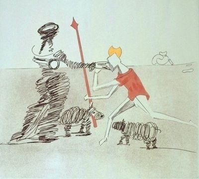Grabado Dali - Don Quijote - Pastorale