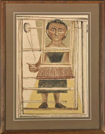 Litografía Campigli - Donna al telaio