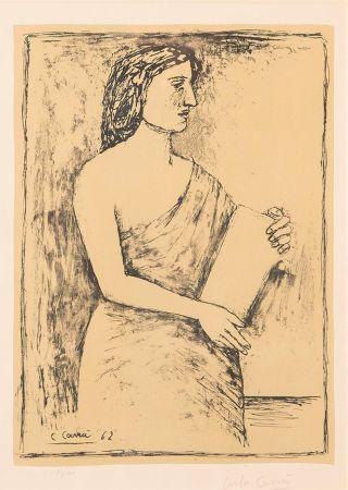 Litografía Carra - Donna con Libro