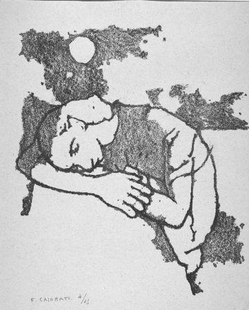 Litografía Casorati - Donna dormiente
