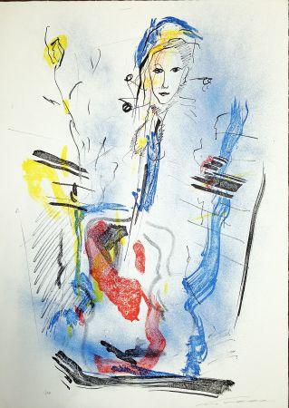 Litografía Treccani - Donna e violino