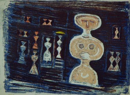 Litografía Campigli - Donna su fondo blu
