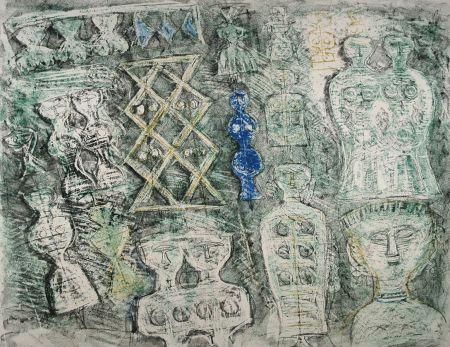Litografía Campigli - Donna su fondo verde