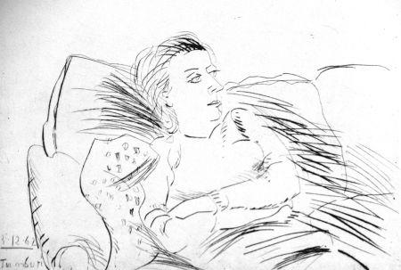 Aguafuerte Tamburi - Donna sul divano