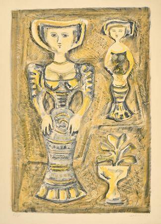 Litografía Campigli - DONNE - FIORI, 1957