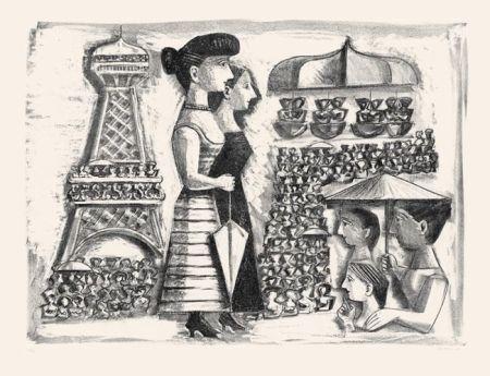 Litografía Campigli - Donne alla Torre Eiffel