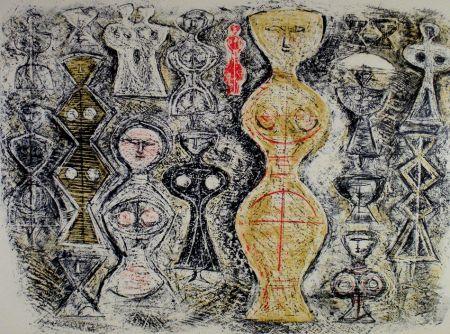 Litografía Campigli - Donne su fondo blu