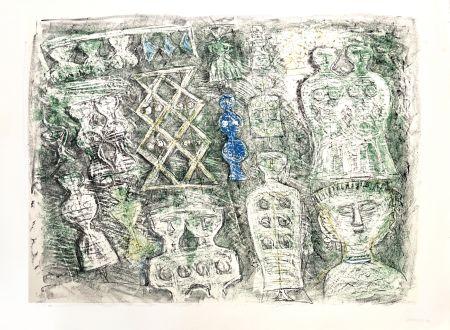 Litografía Campigli - Donne su fondo verte