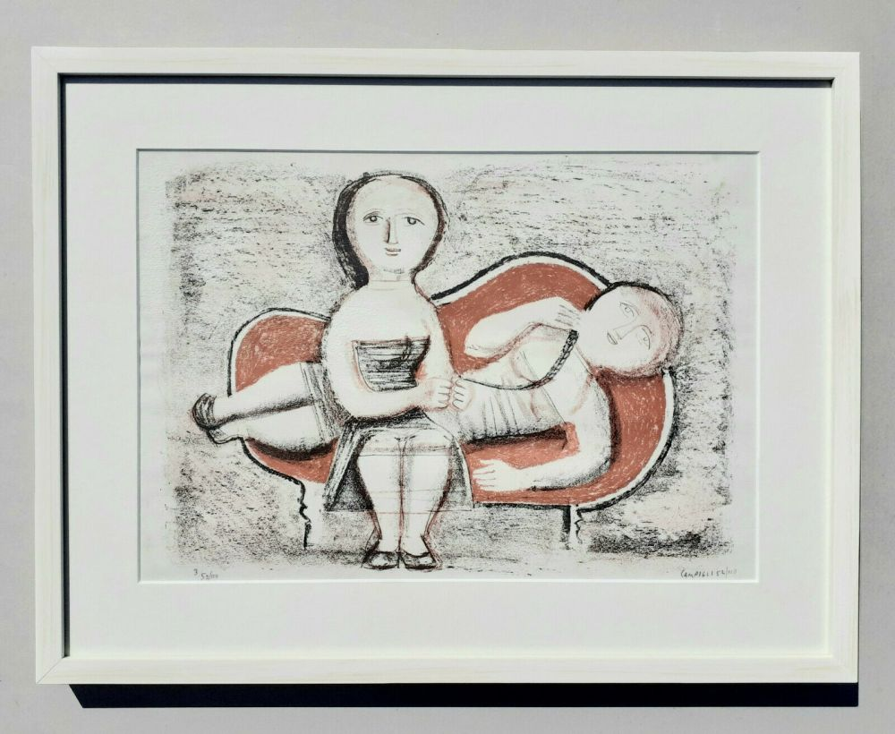 Litografía Campigli - Donne sul divano