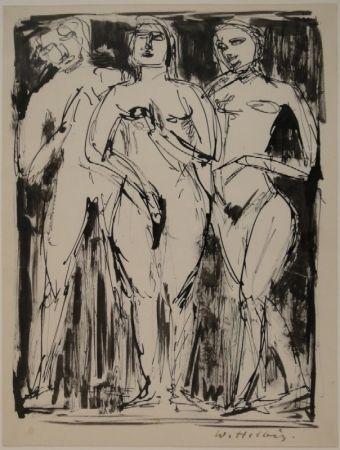 Monotipo Helbig - Drei stehende Figuren