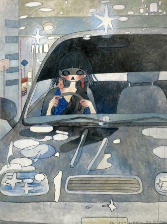 Litografía Takano - DRIVE WITH A NIGHT DOG