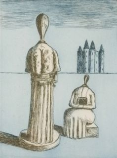 Grabado De Chirico - Dualité, les muses inquiétantes