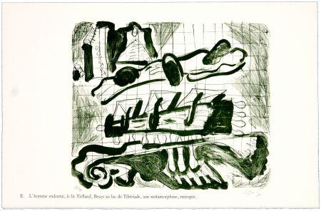 Litografía Nørgaard - E. L'homme endormi, le lit Tiefland, Beuys au lac de Tibériade, une méthamorphose, entropie.