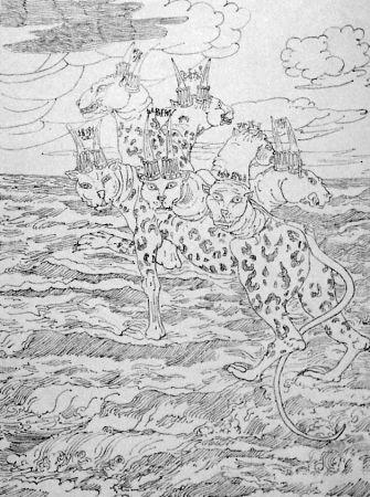 Litografía De Chirico - E vidi una bestia salir su dal mare...