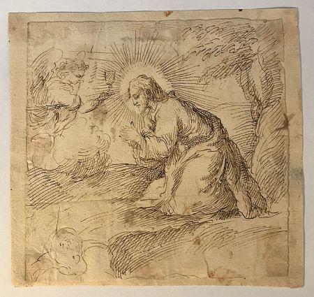 Sin Técnico Anonyme - Ecole italienne, XVIIe, cecle de Carlo MARATTA (1625-1713).  Le Christ en prière