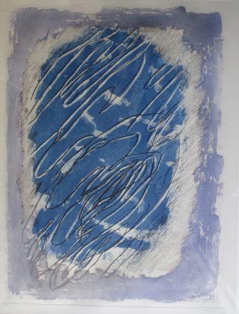 Aguatinta Fautrier - Ecriture Sur Fond Bleu