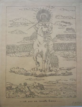 Litografía De Chirico - Ed ecco un cavallo bianco