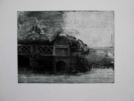 Aguafuerte Y Aguatinta Ackermann - Eisenbahnbrücke / Railroad Bridge