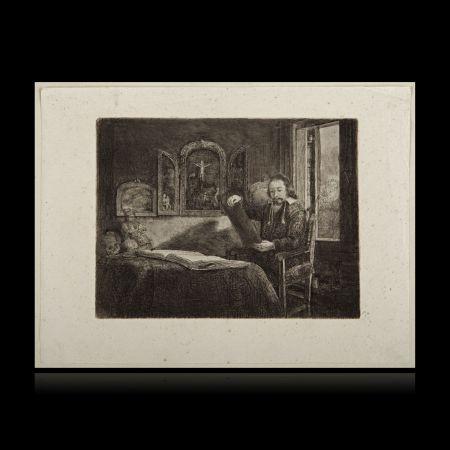 Grabado Rembrandt - El boticario Abraham Francen