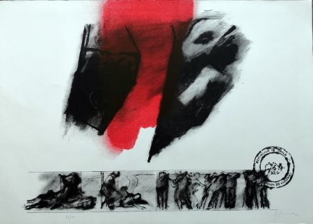 Litografía Balmes - El rojo gota a gota va naciendo