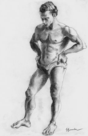 Litografía Bonabel - ELIANE BONABEL / Louis-FerdinandCéline - Nu Masculin / Male Nude  - 1938
