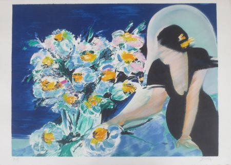 Litografía Spahn - Elisabeth au bouquet