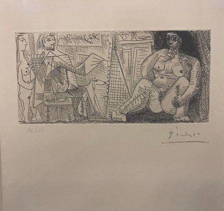 Aguafuerte Picasso - En el atelier, pintor, modelo y espectador