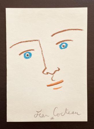 Litografía Cocteau - En face yeux bleu