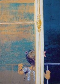 Serigrafía Cremonini - Enfant à la fenêtre