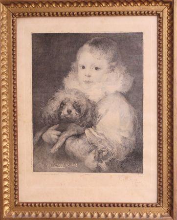 Aguafuerte Carriere - Enfant au chien