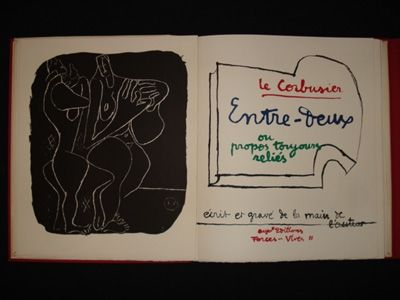 Litografía Le Corbusier - Entre-deux ou propos toujours réliés, écrit et gravé de la main de l'auteur.