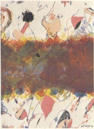 Litografía Guinovart - Entre dues roses