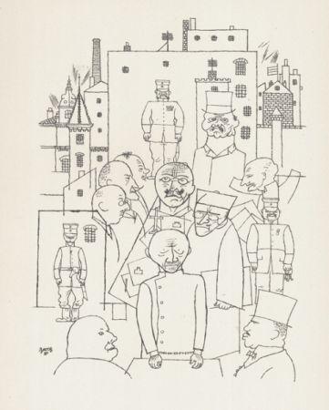 Litografía Grosz - Er hat Hinderburg verspottet