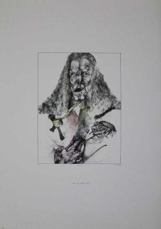 Litografía Schwarz - Er ist tot (Hommage à Albrecht Dürer)