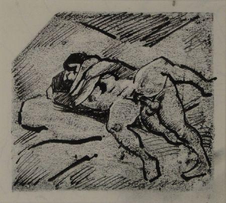 Monotipo Schürch - (Erotische Szene liegend)