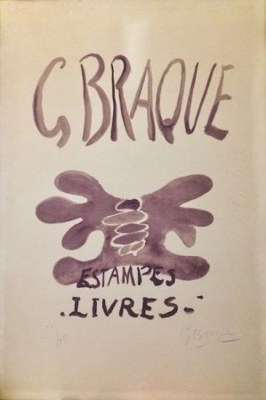 Litografía Braque - Estampes et livres. 1958.