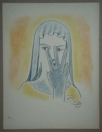 Litografía Cocteau - Etude - La vierge se cache le visage avec 3 doigts